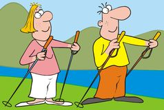 Nordic walking-landscape. Lady and man at mountain. The couple engaged in sports - nordic walking. Humorous illustration. At the background riwer and mountain Stock Photo