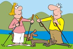 Nordic walking-landscape,dog. Lady, man and dogs. Man and woman are walking their dogs. At the background are lake and mountain. Colored drawing. Funny vector Royalty Free Stock Photo