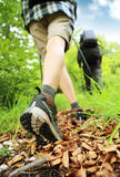Nordic walking legs in mountains Royalty Free Stock Photos