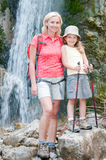 Nordic walking with mother Royalty Free Stock Images