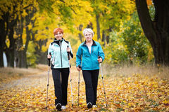 Nordic walking. Mother and daughter train nordic walking stock photo