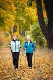 Nordic walking. Mother and daughter train nordic walking Stock Image
