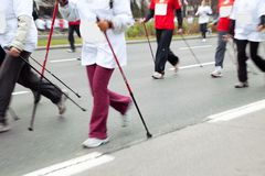 Nordic walking in motion blur Stock Image
