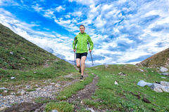 Nordic walking mountain Stock Photography