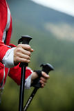 Nordic Walking in mountains Royalty Free Stock Photo