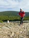 Nordic walking in mountains Royalty Free Stock Photos
