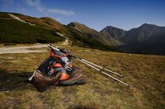 Nordic walking in mountains Royalty Free Stock Photography
