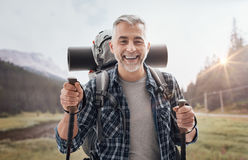 Nordic walking on the mountains royalty free stock photography