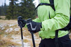 Nordic walking in mountains, hands and poles. Woman on nordic walking trip in winter mountains Stock Images