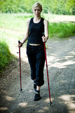 Nordic walking in nature Stock Photography