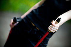 Nordic walking in nature Stock Photos