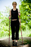 Nordic walking in nature Royalty Free Stock Photo