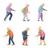 Nordic walking. Old people travelers with canes. Stock Photography
