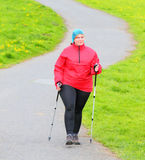 Nordic walking. Royalty Free Stock Photography