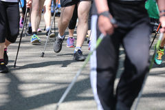 Nordic Walking Racing Royalty Free Stock Photos