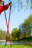 Nordic walking. Red sticks on grass in park Stock Images