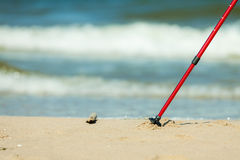 Nordic walking. Red sticks on the sandy beach Stock Photos