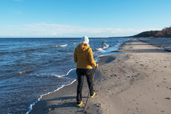 Nordic walking at sea. stock images