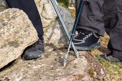 Nordic walking, shoe closeup stock photography