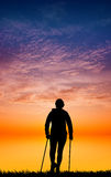 Nordic walking silhouette at sunset Royalty Free Stock Photography