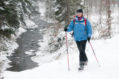 Nordic walking in snow. Storm Royalty Free Stock Photos