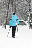 Nordic Walking on snow, Winter Royalty Free Stock Photos