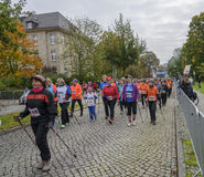 Nordic walking Sport holiday in Germany, Magdeburg, oktober 2015. Nordic walking. People come with sticks Sport holiday, marathon running race in Germany Stock Photo