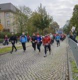 Nordic walking Sport holiday, marathon in Germany, Magdeburg, oktober 2015 Stock Images