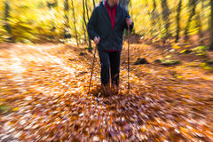 Nordic walking sport run walk motion blur outdoor person legs fo Stock Images