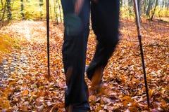 Nordic walking sport run walk motion blur outdoor person legs fo Royalty Free Stock Photo