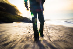 Nordic walking sport run walk motion blur outdoor person legs se Royalty Free Stock Photography