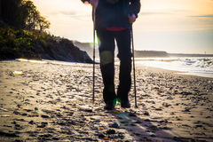 Nordic walking sport run walk motion blur outdoor person legs se Royalty Free Stock Image