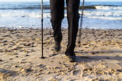 Nordic walking sport run walk motion blur outdoor person legs se Stock Photos
