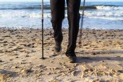 Nordic walking sport run walk motion blur outdoor person legs se Stock Photos