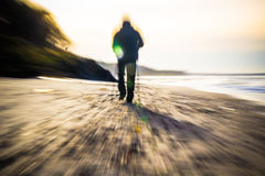 Nordic walking sport run walk motion blur outdoor person sea fig Royalty Free Stock Images