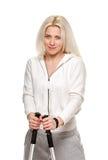 Nordic walking sporty woman portait Stock Photo