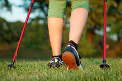 Nordic walking in summer Stock Photos