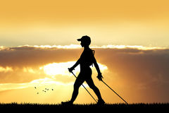 Nordic walking at sunset stock illustration