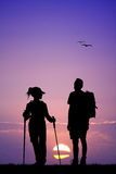 Nordic walking at sunset vector illustration