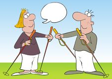 Nordic walking, tourists,lady and man with sticks, vector icon. Nordic walking, lady and man with sticks, vector icon. Funny illustration. Isolated person. At Stock Images