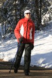 Nordic walking in winter 2 Royalty Free Stock Photos