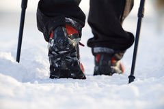 Nordic walking in winter. Woman exercising nordic walking in winter Stock Photo