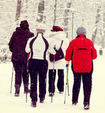 Nordic walking in winter Stock Photo