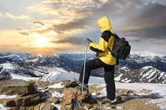 Nordic walking in winter landscape Stock Photos