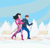 Nordic walking in winter Royalty Free Stock Photos