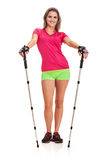 Nordic walking woman full length Royalty Free Stock Images