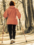 Nordic walking. Woman hiking in the forest park. Royalty Free Stock Photos