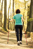 Nordic walking. Woman hiking in the forest park. Stock Image