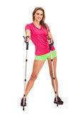Nordic walking woman portrait Royalty Free Stock Images