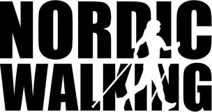 Nordic walking word with silhouette cutout Stock Photography